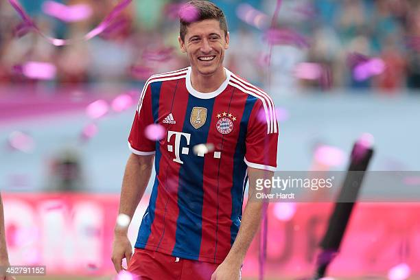Robert Lewandowski of Munich after the Telekom Cup 2014 Finale match between FC Bayern Muenchen and Borussia Moenchengladbach at Imtech Arena on July...