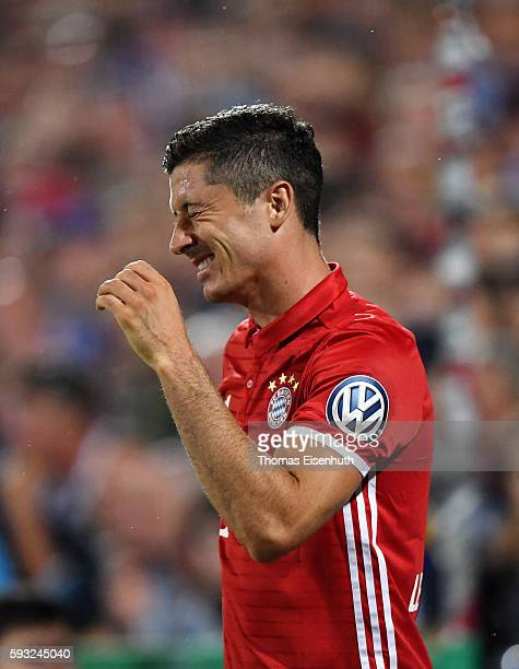 Robert Lewandowski of Munich during the DFB Cup match between FC Carl Zeiss Jena and Bayern Muenchen at ErnstAbbeSportfeld on August 19 2016 in Jena...