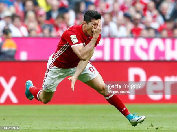 Robert Lewandowski of Munich gestures during the German Bundesliga soccer match between Bayern Munich and Borussia Dortmund at the Allianz Arena in...