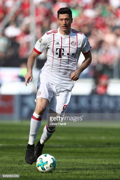 Robert Lewandowski of Munich in action during the Bundesliga match between Hannover 96 and FC Bayern Muenchen at HDIArena on April 21 2018 in Hanover...