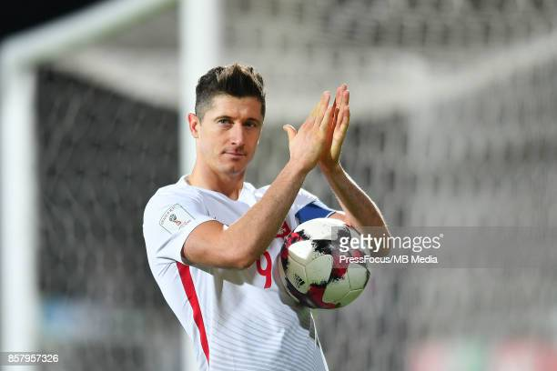 Robert Lewandowski of Poland after the FIFA 2018 World Cup Qualifier between Armenia and Poland on October 5 2017 in Yerevan Armenia