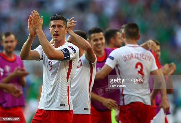 Robert Lewandowski of Poland applauds the supporters after his team's 10 win in the UEFA EURO 2016 Group C match between Poland and Northern Ireland...