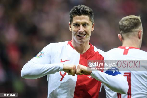 Robert Lewandowski of Poland celebrates after scoring a goal during the UEFA Euro 2020 Qualifier between Poland and Slovenia on November 19 2019 in...