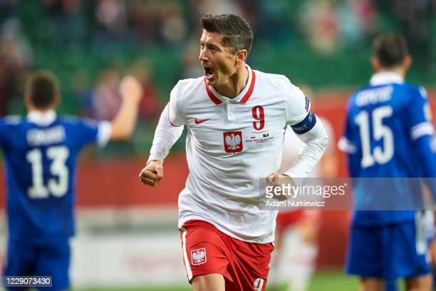 Robert Lewandowski of Poland celebrates after scoring the first goal of his team during the UEFA Nations League group stage match between Poland and...