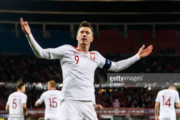 Robert Lewandowski of Poland celebrates during the 2020 UEFA European Championships group G qualifying match between Austria and Poland at Ernst...
