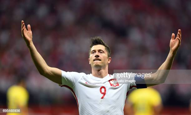 Robert Lewandowski of Poland celebrates his goal during the 2018 FIFA World Cup Russia eliminations match between Poland and Romania on June 10 2017...