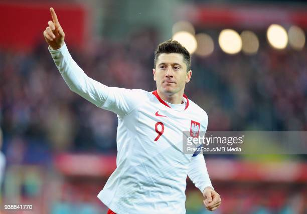 Robert Lewandowski of Poland celebrates scoring a goal during international friendly match between Poland and Korea Republic at Slaski Stadium on...