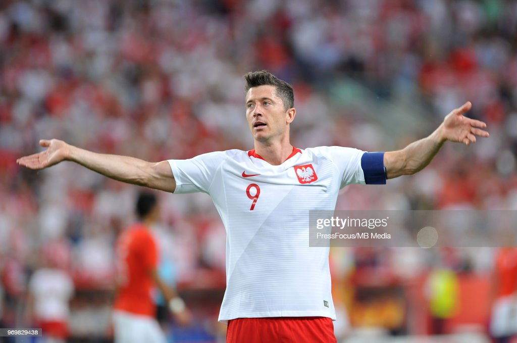 Robert Lewandowski of Poland celebrates scoring a goal during International Friendly match between Poland and Chile on June 8, 2018 in Poznan, Poland.