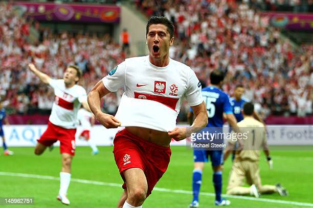 Robert Lewandowski of Poland celebrates scoring the opening goal during the UEFA EURO 2012 Group A match between Poland and Greece at National...