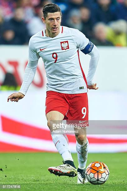 Robert Lewandowski of Poland controls the ball during the international friendly soccer match between Poland and Serbia at the Inea Stadium on March...