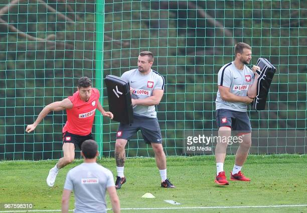 Robert Lewandowski of Poland during a training session of the Polish national team at Arlamow Hotel during the second phase of preparation for the...