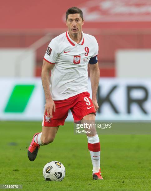 Robert Lewandowski of Poland during the FIFA World Cup 2022 Qatar qualifying match between Poland and Andorra on March 28, 2021 in Warsaw, Poland.