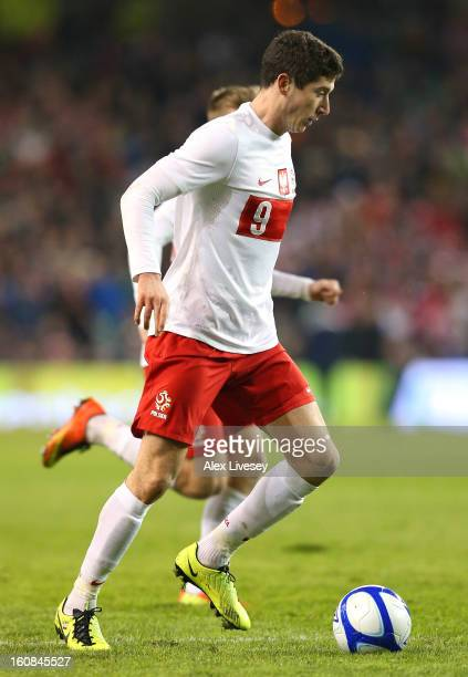 Robert Lewandowski of Poland during the International Friendly match between Republic of Ireland and Poland at Aviva Stadium on February 6 2013 in...