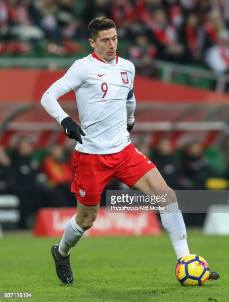 Robert Lewandowski of Poland during the international friendly match between Poland and Nigeria at the Municipal Stadium on March 23 2018 in Wroclaw...