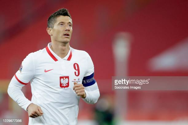 Robert Lewandowski of Poland during the UEFA Nations league match between Poland v Holland on November 18, 2020