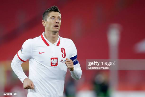 Robert Lewandowski of Poland during the UEFA Nations league match between Poland v Holland on November 18, 2020