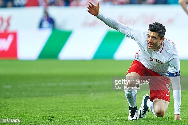 Robert Lewandowski of Poland gestures during the international friendly soccer match between Poland and Serbia at the Inea Stadium on March 23 2016...