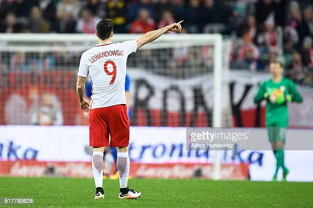 Robert Lewandowski of Poland gestures during the international friendly soccer match between Poland and Finland at the Municipal Stadium on March 26...