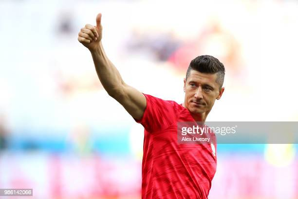 Robert Lewandowski of Poland gestures prior to the 2018 FIFA World Cup Russia group H match between Japan and Poland at Volgograd Arena on June 28...