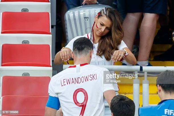 Robert Lewandowski of Poland goes to his wife Anna after the 2018 FIFA World Cup Russia group H match between Poland and Senegal at Spartak Stadium...