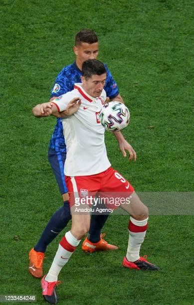 Robert Lewandowski of Poland in action during EURO 2020 Group E soccer match between Poland and Slovakia at Krestovsky Stadium in Saint Petersburg,...