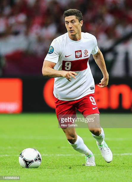 Robert Lewandowski of Poland in action during the UEFA EURO 2012 group A match between Poland and Greece at National Stadium on June 8 2012 in Warsaw...