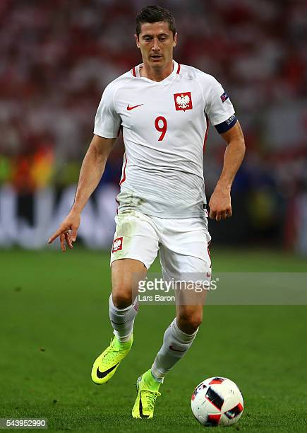Robert Lewandowski of Poland in action during the UEFA EURO 2016 quarter final match between Poland and Portugal at Stade Velodrome on June 30 2016...