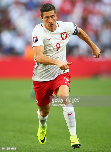 Robert Lewandowski of Poland in action the UEFA EURO 2016 Group C match between Ukraine and Poland at Stade Velodrome on June 21 2016 in Marseille...