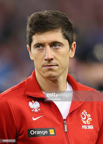 Robert Lewandowski of Poland lines up prior to the International Friendly match between Republic of Ireland and Poland at Aviva Stadium on February 6...