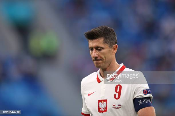 Robert Lewandowski of Poland looks dejected after the UEFA Euro 2020 Championship Group E match between Poland and Slovakia at the Saint Petersburg...