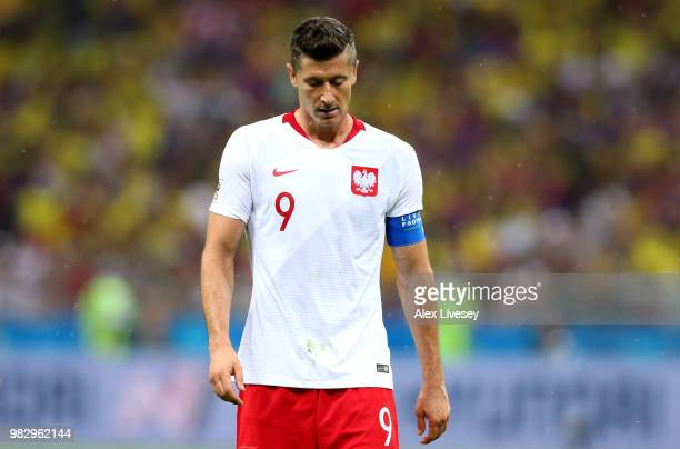 Robert Lewandowski of Poland looks dejected during the 2018 FIFA World Cup Russia group H match between Poland and Colombia at Kazan Arena on June 24...