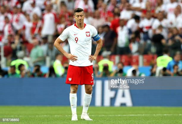 Robert Lewandowski of Poland looks dejected following his sides defeat in the 2018 FIFA World Cup Russia group H match between Poland and Senegal at...
