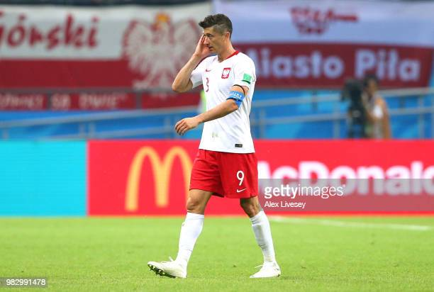 Robert Lewandowski of Poland looks dejected following his sides defeat in the 2018 FIFA World Cup Russia group H match between Poland and Colombia at...