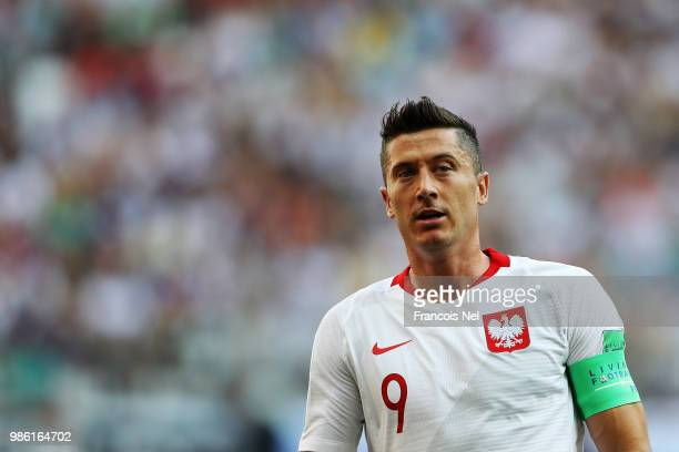 Robert Lewandowski of Poland looks on during the 2018 FIFA World Cup Russia group H match between Japan and Poland at Volgograd Arena on June 28 2018...