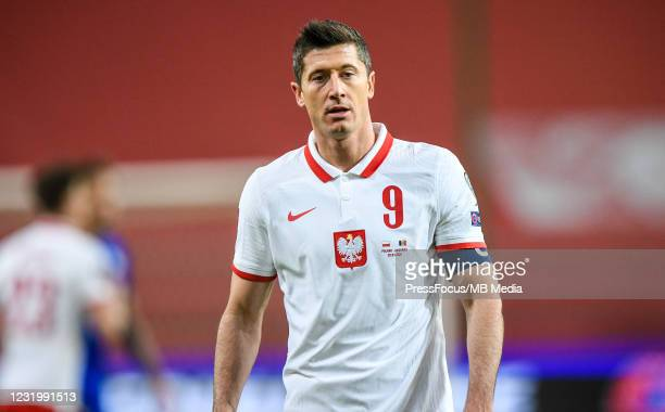 Robert Lewandowski of Poland looks on during the FIFA World Cup 2022 Qatar qualifying match between Poland and Andorra on March 28, 2021 in Warsaw,...