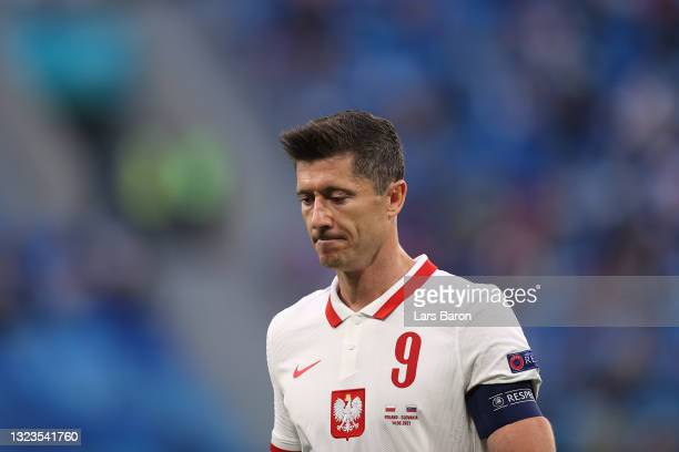 Robert Lewandowski of Poland looks on during the UEFA Euro 2020 Championship Group E match between Poland and Slovakia at the Saint Petersburg...