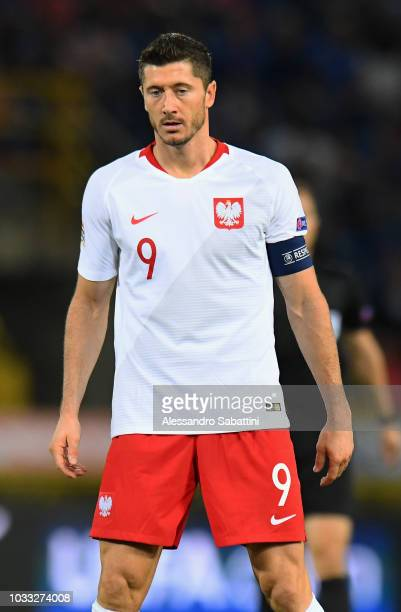 Robert Lewandowski of Poland looks on during the UEFA Nations League A group three match between Italy and Poland at Stadio Renato Dall'Ara on...