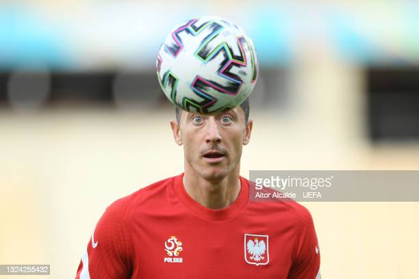 Robert Lewandowski of Poland looks to control the ball during the Poland Training Session ahead of the UEFA Euro 2020 Group E match between Spain and...