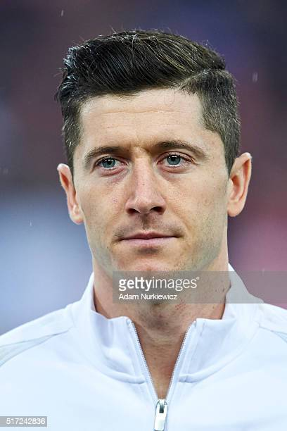 Robert Lewandowski of Poland looks while national anthem during the international friendly soccer match between Poland and Serbia at the Inea Stadium...