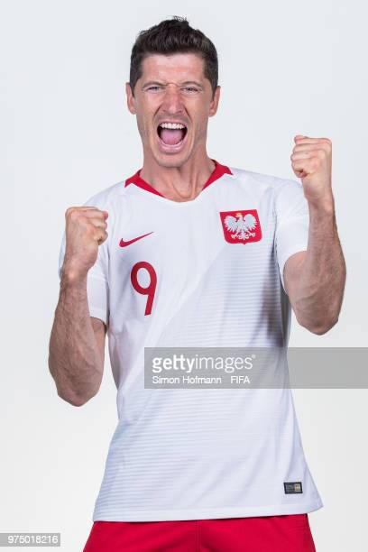 Robert Lewandowski of Poland poses during the official FIFA World Cup 2018 portrait session at Hyatt Regency Hotel on June 14 2018 in Sochi Russia