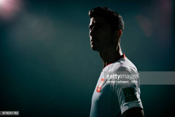 Robert Lewandowski of Poland poses during the official FIFA World Cup 2018 portrait session on June 14 2018 in Sochi Russia