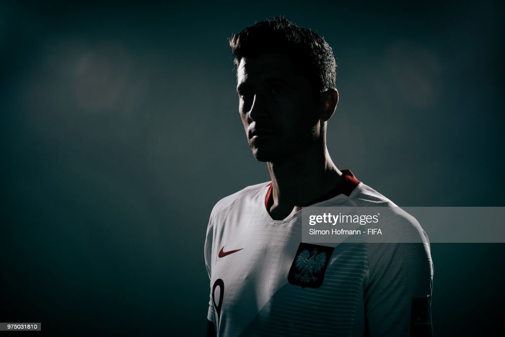 Robert Lewandowski of Poland poses during the official FIFA World Cup 2018 portrait session on June 14, 2018 in Sochi, Russia.