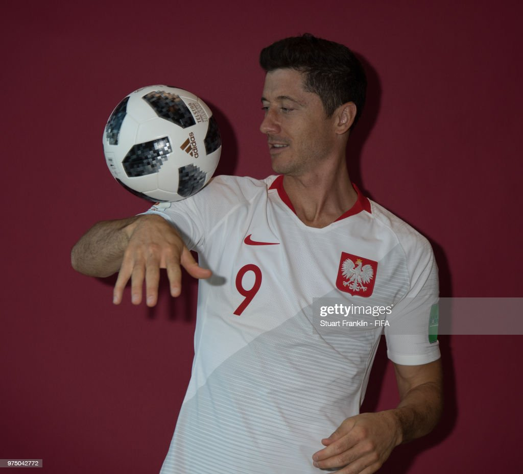 Robert Lewandowski of Poland poses for a photograph during the official FIFA World Cup 2018 portrait session at on June 14, 2018 in Sochi, Russia.