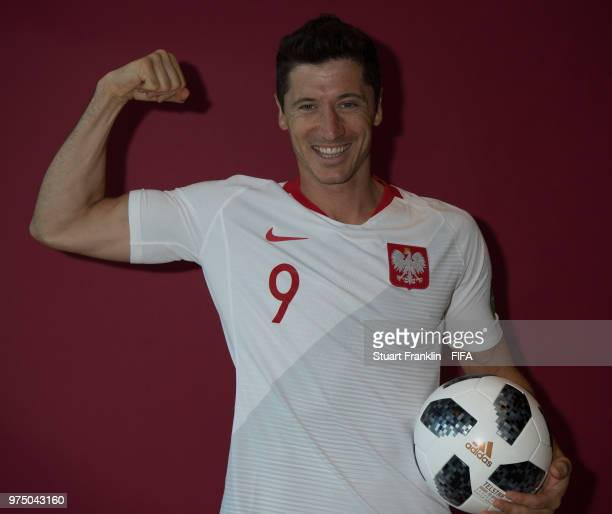 Robert Lewandowski of Poland poses for a photograph during the official FIFA World Cup 2018 portrait session at on June 14 2018 in Sochi Russia