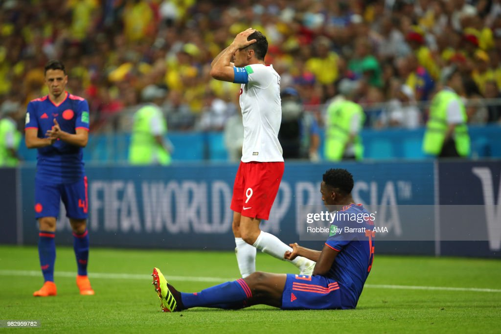 Robert Lewandowski of Poland reacts during the 2018 FIFA World Cup Russia group H match between Poland and Colombia at Kazan Arena on June 24, 2018 in Kazan, Russia.
