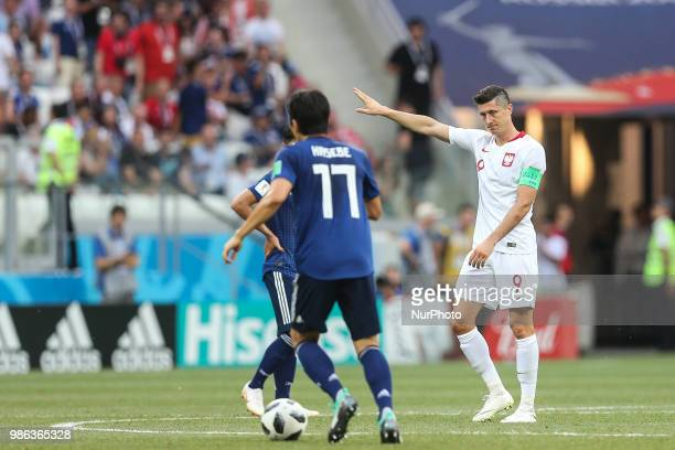 Robert Lewandowski of Poland reacts during the 2018 FIFA World Cup Russia group H match between Japan and Poland at Volgograd Arena on June 28 2018...