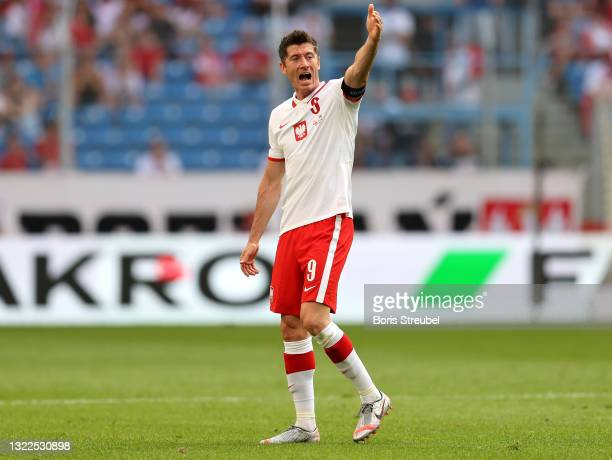 Robert Lewandowski of Poland reacts during the international friendly match between Poland and Iceland at Stadion Poznan on June 08, 2021 in Poznan,...