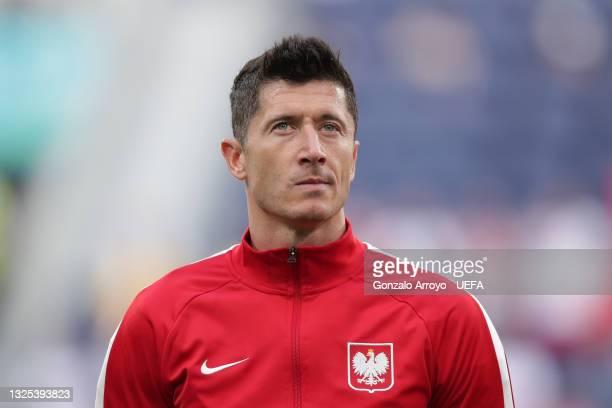 Robert Lewandowski of Poland reacts prior to start the UEFA Euro 2020 Championship Group E match between Sweden and Poland at Saint Petersburg...