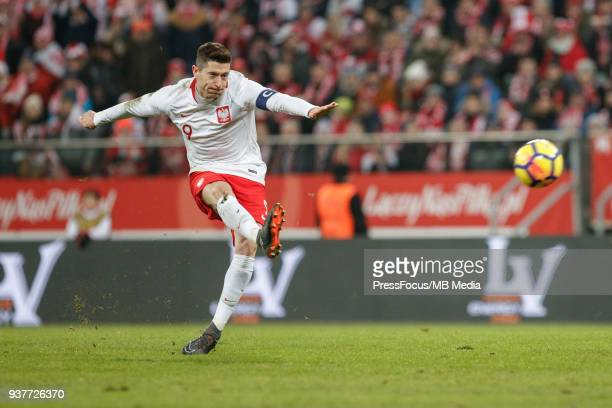 Robert Lewandowski of Poland takes a shot on goal during the international friendly match between Poland and Nigeria at the Municipal Stadium on...