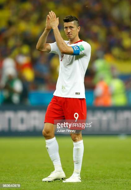 Robert Lewandowski of Poland thanks the support after the 2018 FIFA World Cup Russia group H match between Poland and Colombia at Kazan Arena on June...
